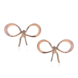 Journee Collection Sterling Silver Goldfill Handmade Bow Stud Earrings