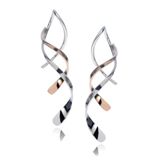 Journee Collection Sterling Silver 14K Goldfill Handmade Spiral Earrings