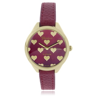 Geneva Platinum Heart Pattern Leather Strap Watch