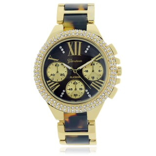 Geneva Platinum Rhinestone Two-Tone Link Watch