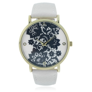 Geneva Platinum Lace Print Leather Strap Watch