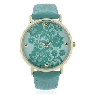 Geneva Platinum Lace Print Leather Strap Watch