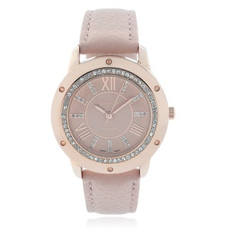 Geneva Platinum Rhinestone Leather Strap Watch