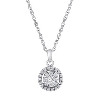 Sterling Silver 1/5ct TDW Diamond Round Halo Necklace - White H-I