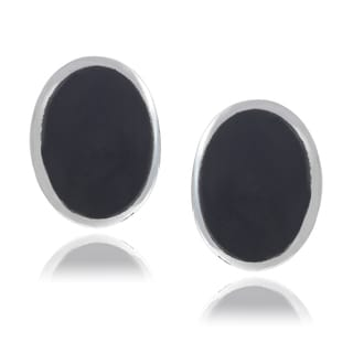 Journee Collection Sterling Silver Oval Onyx Stud Earrings