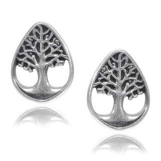 Journee Collection Sterling Silver Tree of Life Stud Post Earrings