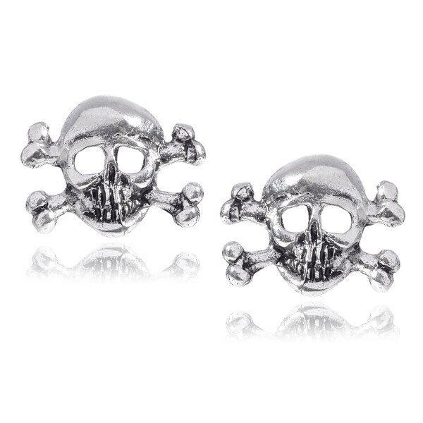 Journee Collection Sterling Silver Pirate Skull and Crossbones Stud Earrings