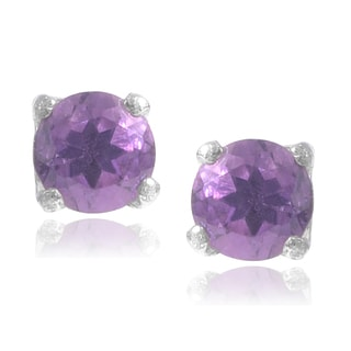 Journee Collection Sterling Silver Amethyst Stud Earrings
