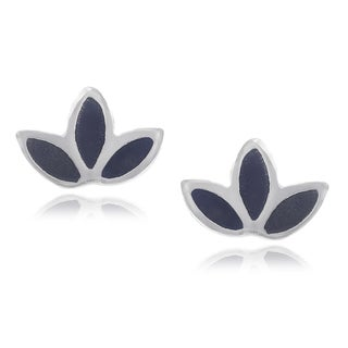 Journee Collection Sterling Silver Onyx Inlay Lotus Stud Earrings
