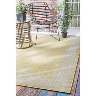 nuLOOM Traditional Modern Indoor/ Outdoor Yellow Porch Rug (5' x 7'6)