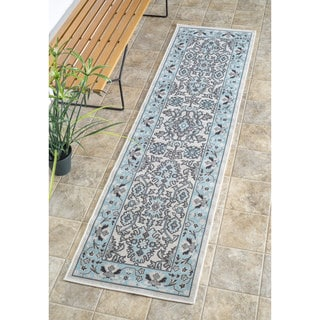 nuLOOM Traditional Modern Indoor/ Outdoor Light Blue Porch Rug (2' x 7'6)
