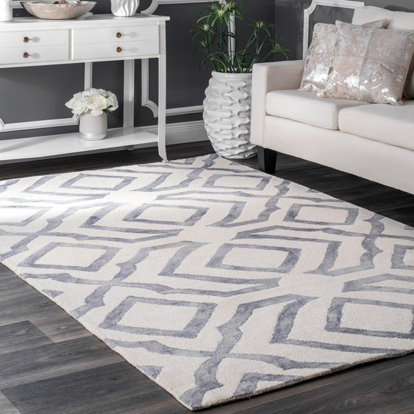 Nuloom Contemporary Handmade Abstract Wool Rug 7 6 X 9 6