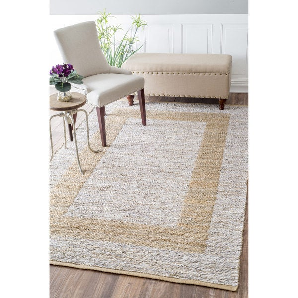 Nuloom Casual Handmade Jute Leather Silver Rug 5 X 8