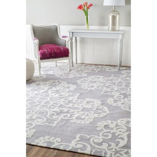 nuLOOM Handmade Modern Abstract Floral Grey Rug (7'6 x 9'6)