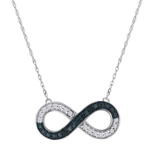 Sterling Silver 1/4ct TDW Blue Diamond Infinity Necklace (I-J, I2-I3)