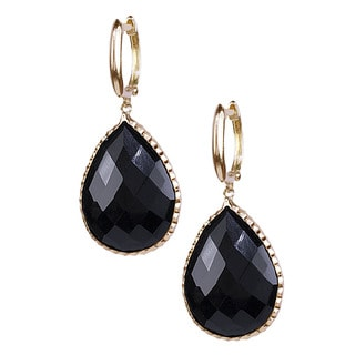 14k Yellow Gold Faceted Onyx Pear Cut Earrings