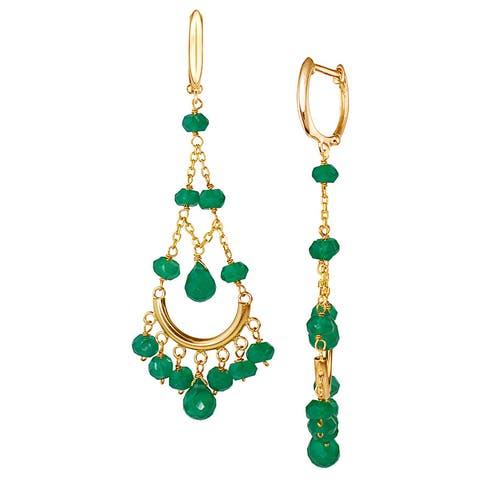 14k Yellow Gold Faceted Green Onyx Chandelier Earrings
