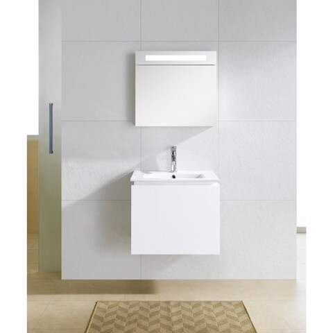 Fine Fixtures Lexington 24-inch White Mirrored Medicine Cabinet with LED Light
