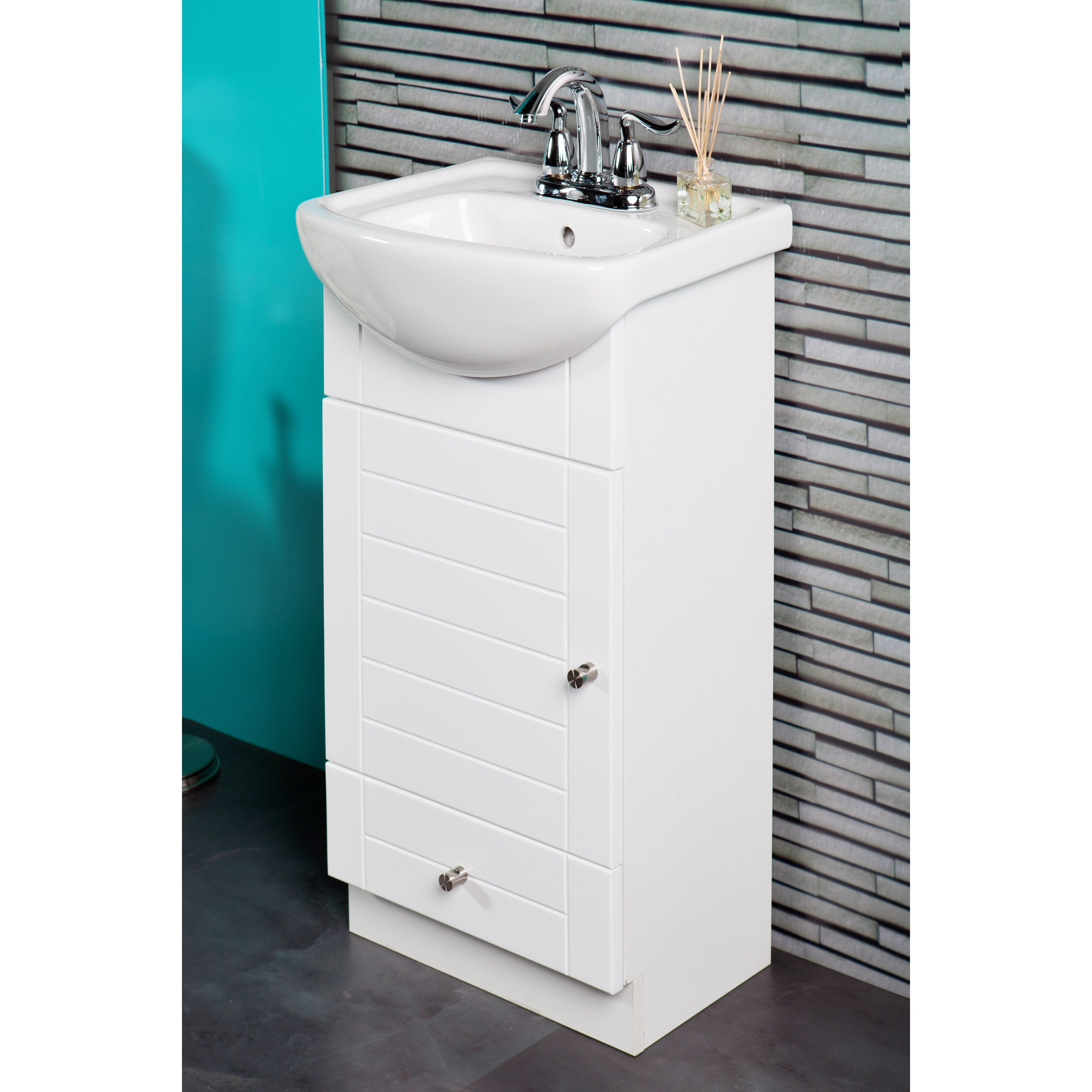 fine fixtures petite 16-inch vanity with vitreous china sink top