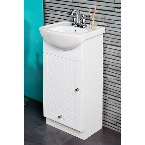 Awesome 16 Inch Vanity Sink Part - 13: Fine Fixtures Petite 16-inch Vanity With Vitreous China Sink Top