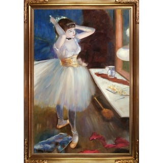 Edgar Degas 'Dancer in Her Dressing Room' Hand Painted Framed Canvas Art
