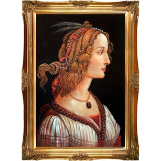 Botticelli 'Portrait of a Young Woman' Hand Painted Framed Canvas Art