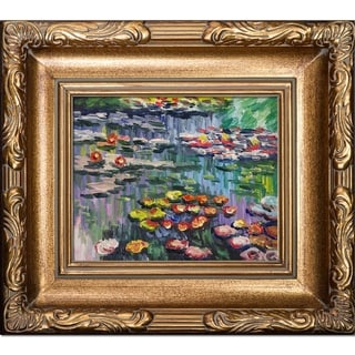 Link to Claude Monet 'Water Lilies' (pink) Hand Painted Framed Canvas Art Similar Items in Canvas Art