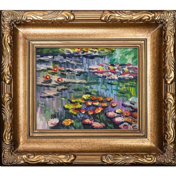 Claude Monet 'Water Lilies' (pink) Hand Painted Framed Canvas Art. Opens flyout.