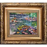 Claude Monet 'Water Lilies' (pink) Hand Painted Framed Canvas Art