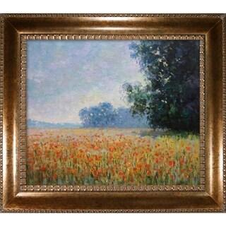 Claude Monet 'Oat Fields' Hand Painted Framed Canvas Art