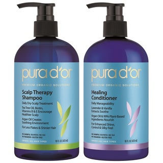 Pura d'or Premium Organic Dandruff Shampoo and Conditioner Set