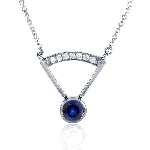 Annello by Kobelli 14k White Gold Round-cut Blue Sapphire Diamond Accented Bezel Necklace