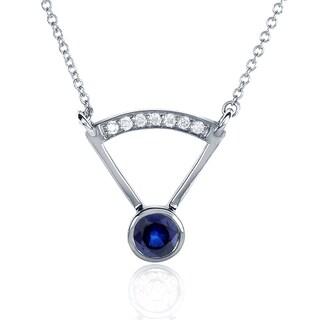 Annello by Kobelli 14k White Gold Round-cut Blue Sapphire Diamond Accented Bezel Necklace