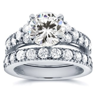 Annello by Kobelli 14k White Gold Moissanite (HI) and 1 1/10ct TDW Antique Diamond Bridal Rings Set