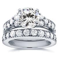 Annello by Kobelli 14k White Gold Moissanite and 1 1/10ct TDW Antique Diamond Bridal Rings Set