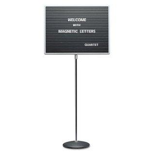 Quartet Adjustable Single-Pedestal Black Magnetic Letter Board