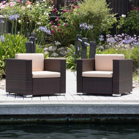 Murano Outdoor Aluminum Club Chair with Cushions (Set of 2) by Christopher Knight Home