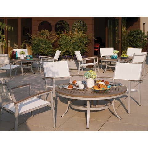 Oxford Garden Travira 5-piece Set, Natural Sling - Tekwood Vintage Chat Chairs