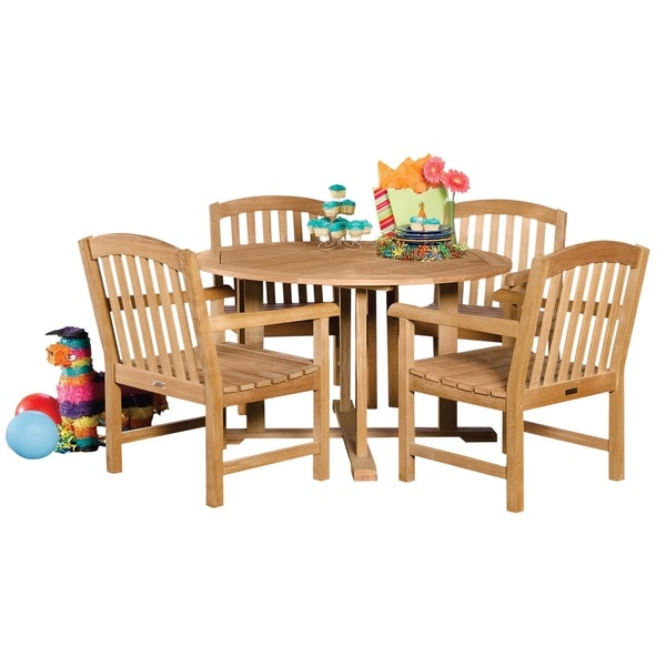 Oxford garden 5 piece set 48 inch round dining table with for Round dining table 52 inch
