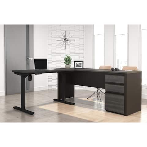 Bestar Prestige L-Desk including Electric Height Adjustable Table