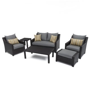 RST Brands Deco 6-piece Love and Club Deep Seating Set with Charcoal Grey Cushions