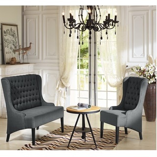 Keats Contemporary Grey Fabric Upholstered Button Tufted And Nail Heads Trimmed Chair And Loveseat Set
