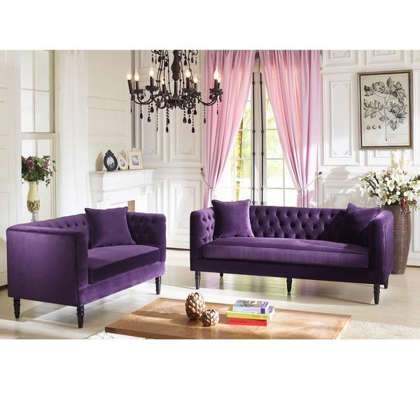 Charmant Flynn French Inspired Purple Velvet Upholstered Sofa