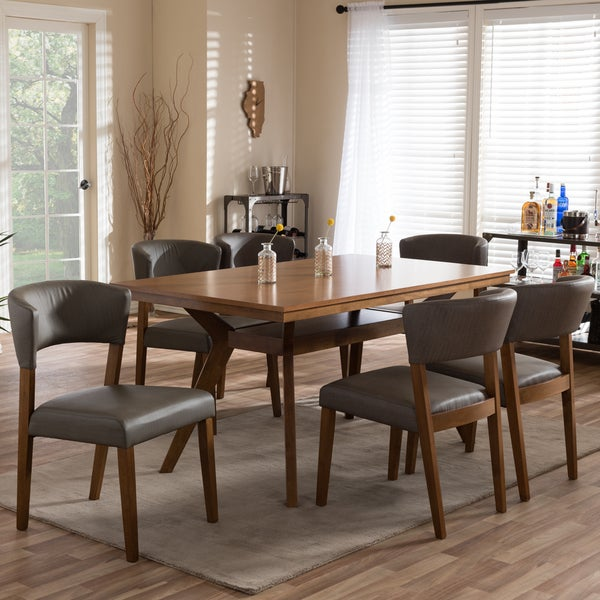 Montreal Mid-Century Solid Wood 7 Pieces Dining Set & Shop Montreal Mid-Century Solid Wood 7 Pieces Dining Set - Free ...