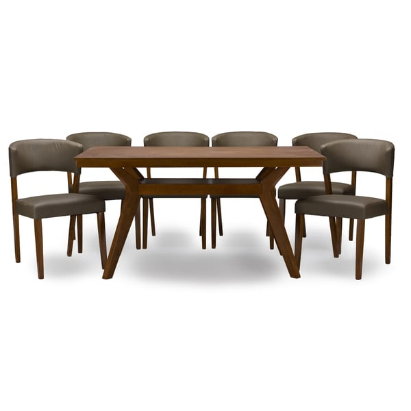 Baxton Studio Montreal Mid Century Dark Walnut Wood Dining Set Table