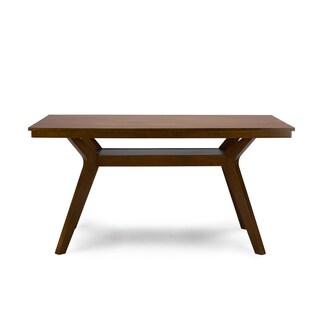 Baxton Studio Montreal Mid-century Dark Walnut Wood Dining Set Table