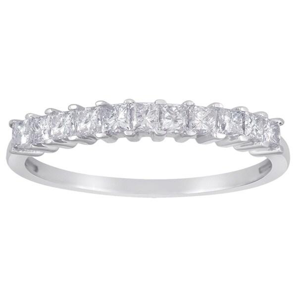 14k White Gold 1/2ct TDW Princess-cut Diamond Wedding Band (G-H, I1-I2)