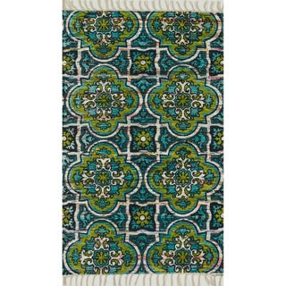 Flatweave Maria Blue/ Lime Marrakesh Rug (3'6 x 5'6)