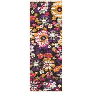 Flatweave Maria Violet/ Gold Floral Runner Rug (1'9 x 5'0)