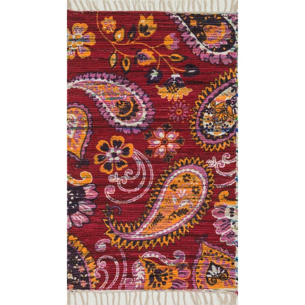 Shop Flatweave Maria Pink/ Gold Paisley Rug